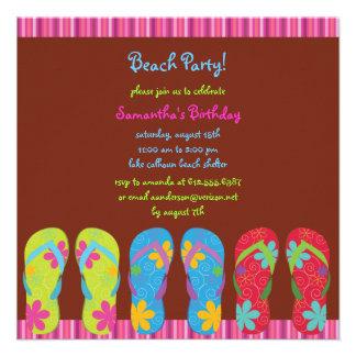 Girl s Flip Flop Beach Party Photo Invite