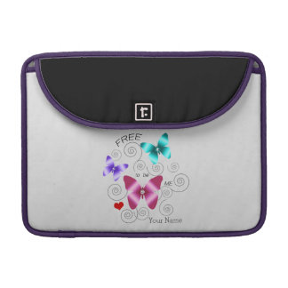 "Girl's ""Free to be Me"" Butterflies Sleeve For MacBooks"