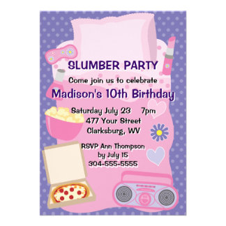 Girl s Pajama Party Announcements