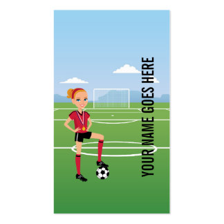 Girl s Soccer Calling Card Front and Back Business Cards