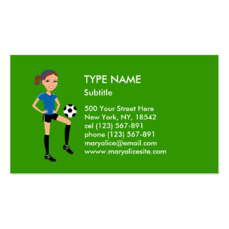 Girl s Soccer Player Personalized Business Card Template