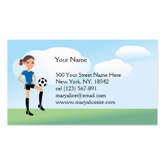 Girl s Soccer Player Personalized Business Card Templates