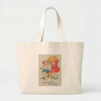 Girl Scaring Boy Book Jack O' Lantern Jumbo Tote Bag
