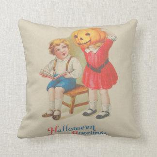 Girl Scaring Boy Book Jack O' Lantern Throw Pillow