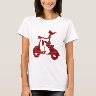 girl scooter red white gingham T-Shirt