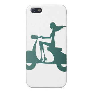 Girl Scooter teal gradient iPhone 5/5S Covers