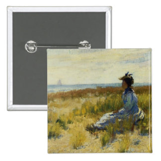 Girl Seated by the Sea 15 Cm Square Badge