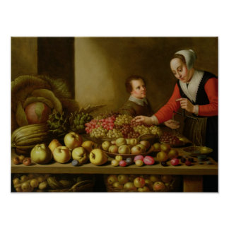 Girl selling grapes poster