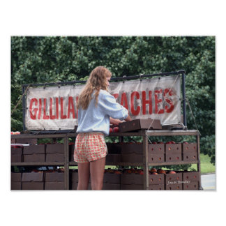 Girl Selling Peaches Poster