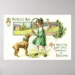 Girl Shamrock Four Leaf Clover Dog Hoop Poster