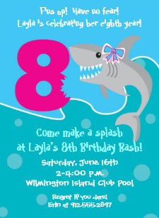 Girl Shark Bite Invite 8th Birthday Party Invitation