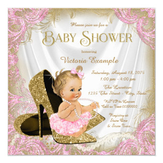 Girl Shoe Pink Gold Glitter Pearl Baby Shower Card