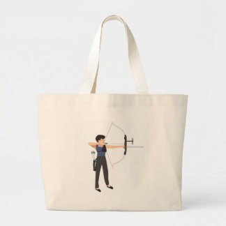 girl shooting archery large tote bag
