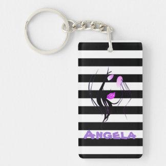 Girl Silhouette, Black, White Stripes Personalized Key Ring