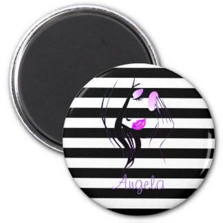 Girl Silhouette, Black, White Stripes Personalized Magnet