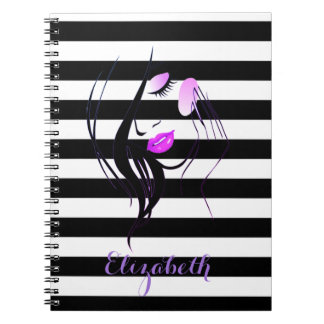 Girl Silhouette, Black White Stripes-Personalized Notebooks