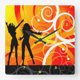 Girl Silhouettes Dancing On Background Of Swirls Square Wall Clock