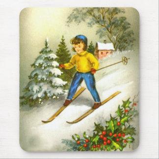 Girl ski-ing mouse pad