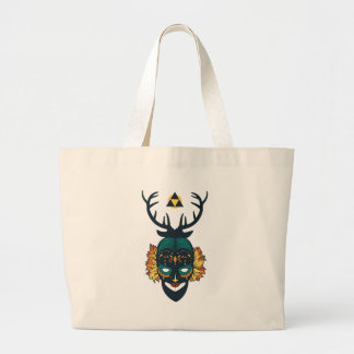 girl skull with deer antin large tote bag