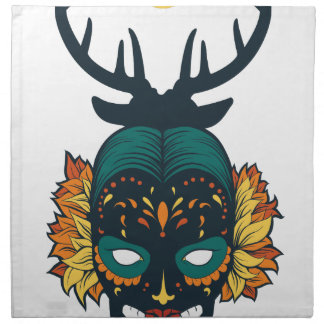 girl skull with deer antin napkin