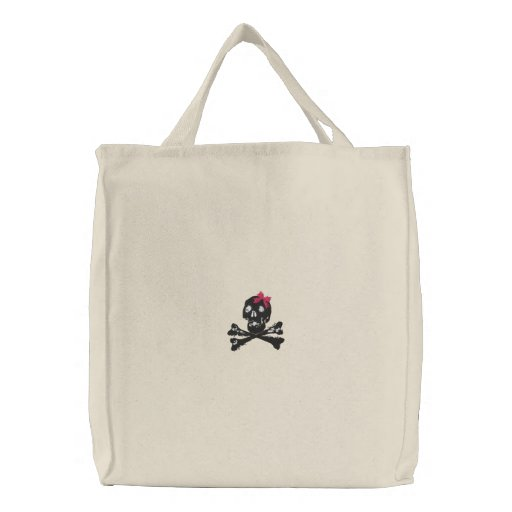 Girl Skull with Pink Bow Canvas Bag
