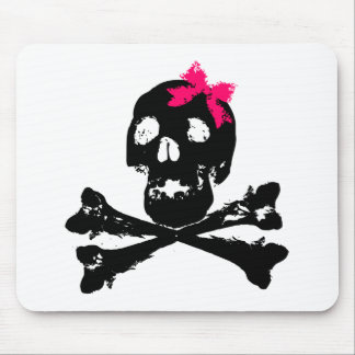 Girl Skull with Pink Bow Mousepads