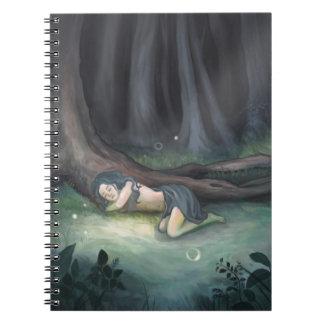 Girl Sleeping in Woods Art Notebooks