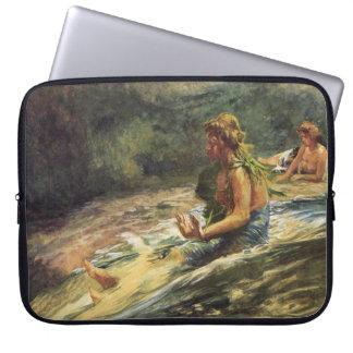 'Girl Sliding Down Water Fall' - John LaFarge Laptop Sleeve