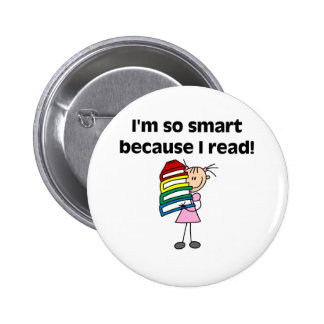 Girl Smart Because I Read Pinback Button