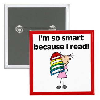 Girl Smart Because I Read Button