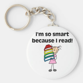 Girl Smart Because I Read Basic Round Button Key Ring