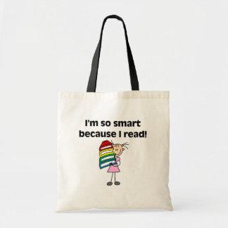 Girl Smart Because I Read Budget Tote Bag