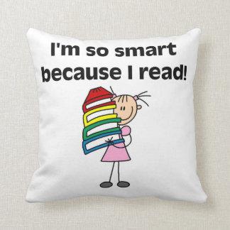 Girl Smart Because I Read Throw Pillows