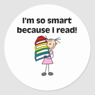 Girl Smart Because I Read Round Sticker
