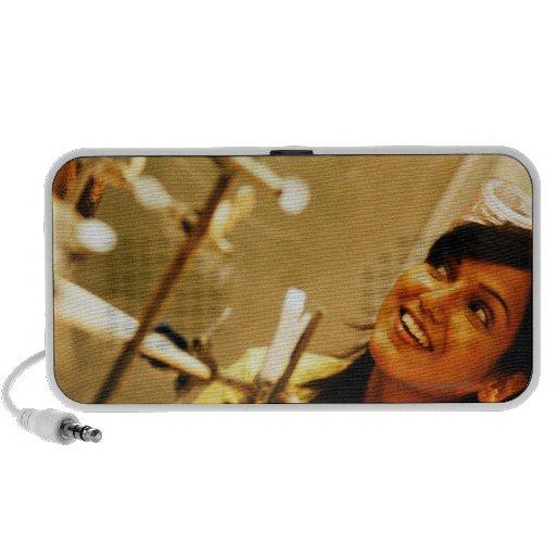 Girl smiling at teacher in chemistry lab laptop speakers