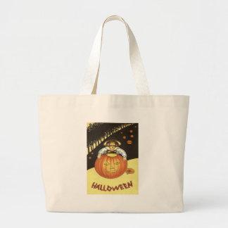 Girl Smiling Jack O' Lantern Pumpkin Jumbo Tote Bag
