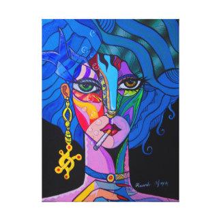 Girl smoking canvas print