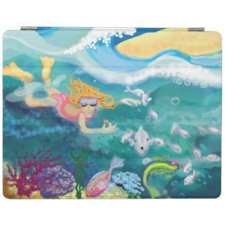 Girl snorkelling in tropical ocean with fish iPad cover