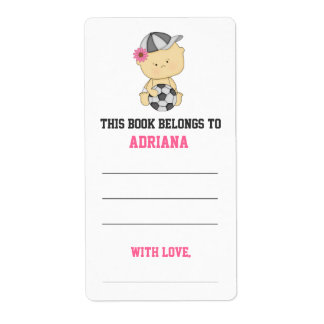 Girl Soccer Baby Shower Bookplate - Pink Shipping Label