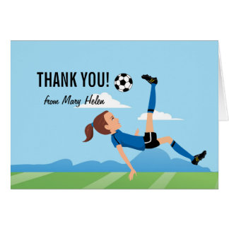 Girl Soccer Themed Thank You Card
