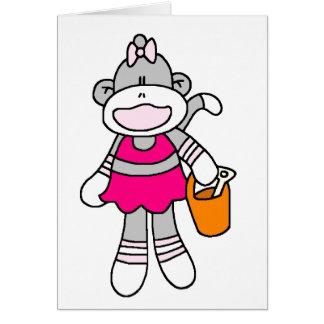 Girl Sock Monkey at Beach Greeting Card