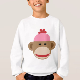girl sock monkey kid's sweatshirt