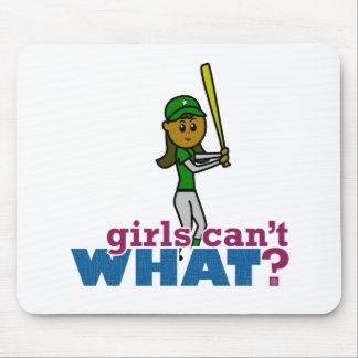 Girl Softball Player in Green Mousepads