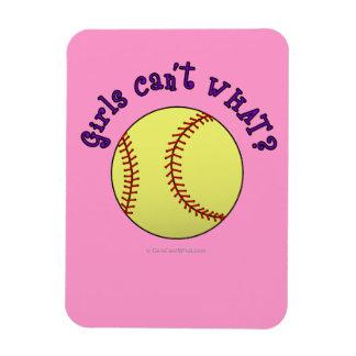 Girl Softball-Purple Text Rectangular Magnets