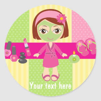 Girl Spa Birthday Party Guest Favor Classic Round Sticker