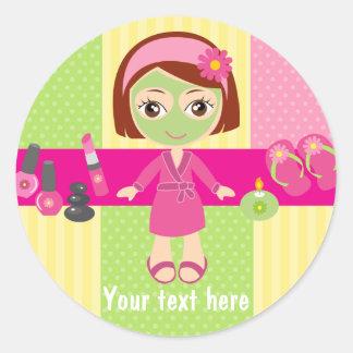 Girl Spa Birthday Party Guest Favor Round Sticker