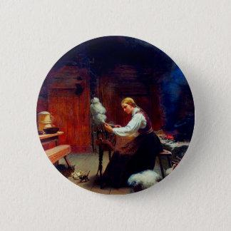 Girl Spinning Wool 6 Cm Round Badge