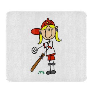Girl Stick Figure Baseball Up At Bat Cutting Board