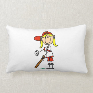 Girl Stick Figure Baseball Up At Bat Pillow