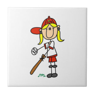 Girl Stick Figure Baseball Up At Bat Small Square Tile